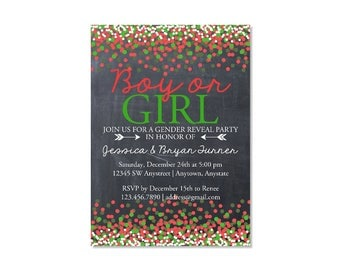 Chalkboard Confetti Christmas Gender Reveal Invitation