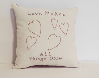 Valentine's Day Pillow, Heart Pillow, Stitchery, Original Design, Hand Embroidered Pillow, Cushion, Spring Decor, Cottage Chic, Red Pillow