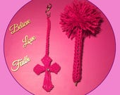 Pink Charm and PomPom Pen Cover in Cream Sparkle