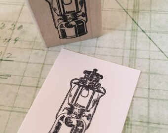 Small Camping Lantern Rubber Stamp