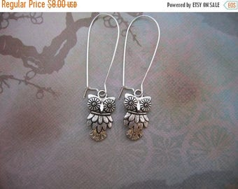 Clearance Owl Earrings - Antiqued Silver Owl Charm Earrings - Kidney Earwires or Hook Earwires - Clearance Sale