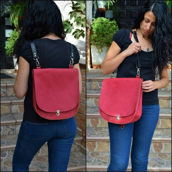 Leather backpack,leather bag,convertible purse,red leather purse,red backpack,tanned leather,leather purse,red bag,backpack leather