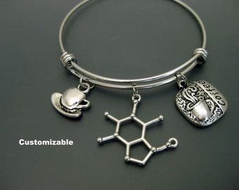 Caffeine Molecule Bracelet / Coffee Bangle / Coffee Lover Bracelet / Gift for Coworker / Coffee Addict Bracelet / Coffee Molecule Bangle