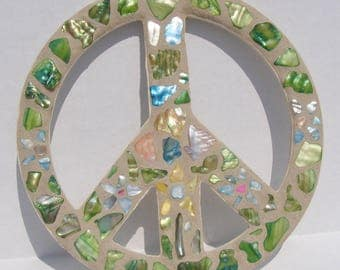 Peace Sign Wall Art orange peace sign wall art hippie art mosaic stained glass