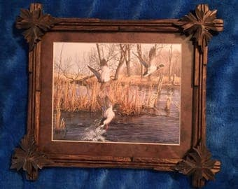 Handcrafted Adirondack Vintage Style Rustic Tramp Art Picture Frame