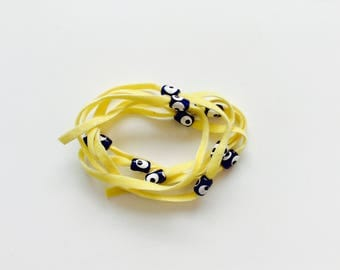 Yellow Suede Evil Eye Lucky Eye Beads String Wrap Bracelet Choker Necklace Anklet Hair Accessory