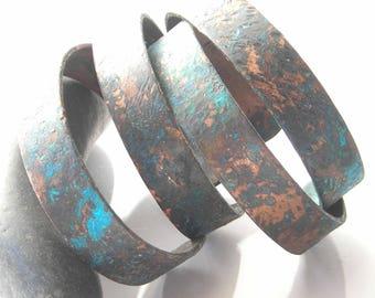 Half Inch Copper Cuffs, Natural Verdigris Copper Patina, Textured Oxidized, Stacking Bracelets, Copper Bangles, Blue Patina, Matt Finish