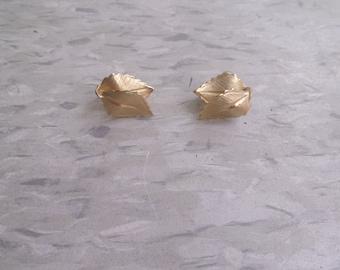 vintage clip on earrings double goldtone leaf