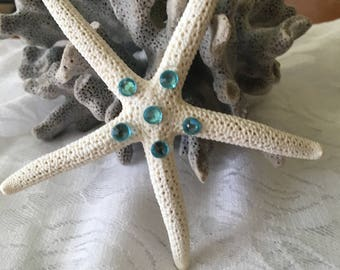 Natural Starfish Hair Clip-Aqua Crystals-Hair Accessory-Beach Wedding-Beach Vacation
