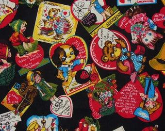 Valentine Fabric, My Funny Valentine, Vintage Style, Valentine Cards,  Valentine Postcards, By the Yard, Cotton Fabric