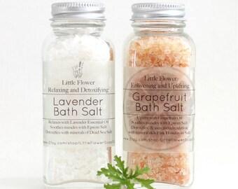 Spa Kit, Lavender Bath Salts, Pink Grapefruit Himalayan Salt, Salt Scrub, Set of 2 Detoxifying Relaxing and uplifting Gift idea her, Epsom