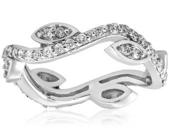 Floral Leaf Petal 1/2Ct Diamond Vintage Vine Floral Eternity Stackable Wedding Ring 14K White Gold