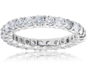 2 cttw Diamond Eternity Ring U Prong 14k White Gold Wedding Band White Gold