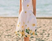 Lana dress inspired by classic vintage in yellow floral border print