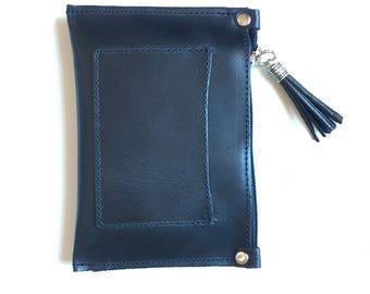 Small BLACK genuine leather purse or BAG , iPhone case, cosmetics bag or make up up pouch. Purse in BLACK  soft leather.
