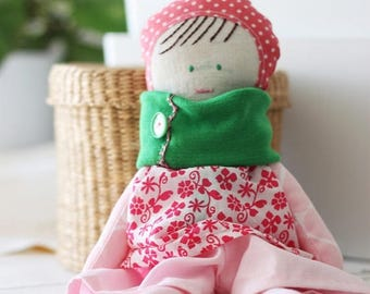 Little Rosa cloth doll. Stuffed rag doll. One of a kind, ready to ship. Made in Italy.