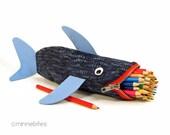 Nautical Bag - Shark Pencil Case - Cute Planner Pouch - Navy Blue Pencil Bag - Geeky Gift - Organizer - Guys Office Supplies - Ready to Ship