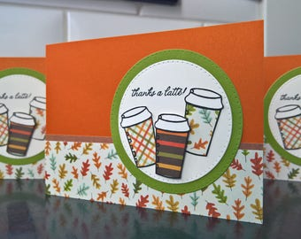 Autumn Coffee Gift Card Holder, Thanks a Latte Card, Teacher Appreciation Gift, Coffee Lover Gift, Gift Card Envelope, Fall Leaves