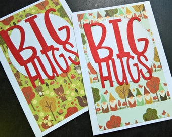 Blank Cards Set of 2, Get Well Cards, Thinking of You Cards, Any Occasion Greeting Cards Set, Thank You Notes, Big Hugs, Woodland Cards Set