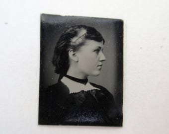 antique miniature gem tintype photo - 1800s, silhouette of pretty woman with comb in her hair