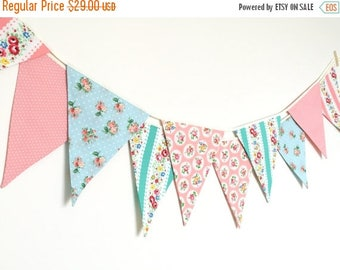 ON SALE Shabby Chic Fabric Banners, Bunting, Garland, Wedding Bunting, Pennants, Flags, Mint, Peach, Pink, Blue - 3 yards (3rd version)