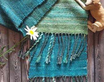 Merino & Silk Handwoven Scarf ~ Reindeer Moss