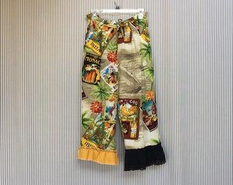 Upcycled Bloomers , Ruffled Capris , Wearable Art, Vintage Tropical Print Pants , Colorful Pantaloons ,Bohemian Gypsy