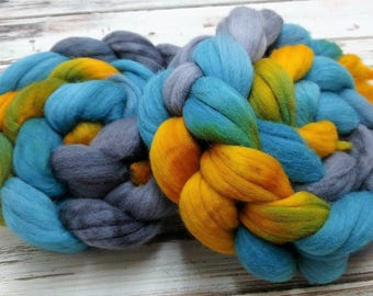 Sunken Treasure 4oz 21 micron Merino Wool Spinning Fiber Combed Top Roving Teal Golden Yellow Silver Gray Grey