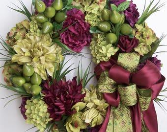 Fall Wreath, Autumn Wreath, Fruit Wreath, Winter Wreath, Door Wreath, Wreath, Pear Wreath, Halloween Wreath, Thanksgiving  Wreath