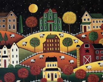 Folk Art Halloween Note Card, Hilly Fall Village, Saltbox Houses, Barn, Sheep, Moon
