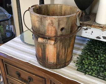 Vintage Wood Slat Ice Cream Bucket Shabby Chic