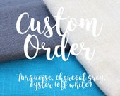 Custom order for Merian - turquoise, charcoal grey, and ivory burlap bouquet and boutonnière