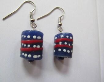 Dark Blue & Pink Striped Earrings