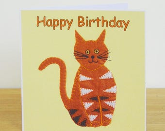 Stripey Cat Birthday Card, Recycled Card, Kids Birthday Card, Birthday Card for Her, Birthday Card for Him