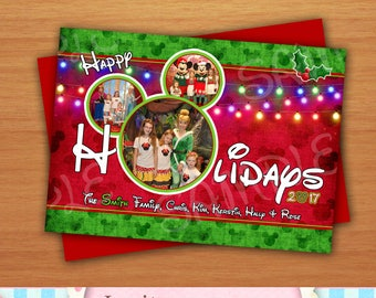 Digital Disney Inspired Photo Christmas Greeting Card Mickey Mouse Inspired