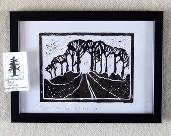 handmade linocut print, Galston Trees