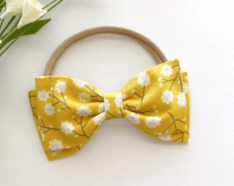 Mustard Floral Baby Bow - Mustard Baby Headband - Yellow Floral Print Bow - Mustard Yellow Baby Headband - Mustard Bow on Nylon Headband