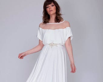 White wedding dress ,full circle floor length wedding dress, jewelry beaded belt