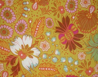"""1 Yard LITTLE FOLKS VOILE Coloring Garden Citrus Gold 54/55"""" Wide Anna Maria Horner Floral Waves Quilting Sewing Free Spirit Fabric"""