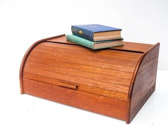 Mid-Century Teak Tambour Bread Box - Wooden Bread Box - Teak N Yu