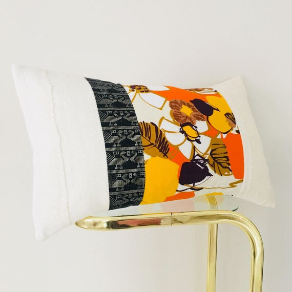 "Retro Yellow Floral Pillow Cover 14""x24"" Lumbar Cushion Pillow Vintage Bold Orange Brown Flowers Black Metallic Gold Tribal White Mudcloth"