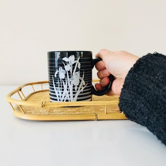 Vintage Black Coffee Mug Ceramic Black and White Floral Coffee Cup Gray Iris Flowers Striped Coffee Mug