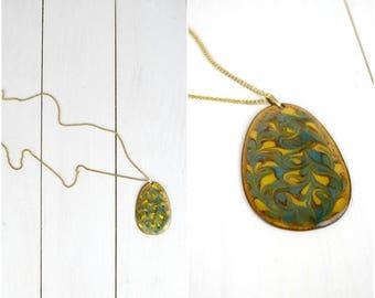 Summer Sale Vintage painted enamel gold tone metal chain necklace / blue floral pendant swirl necklace