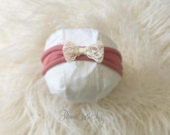 Pink Skinny Stretch Lace Bow Headband, newborn, baby girl, skinny stretch, hair accessories, photography prop, lace, bow, ready to ship