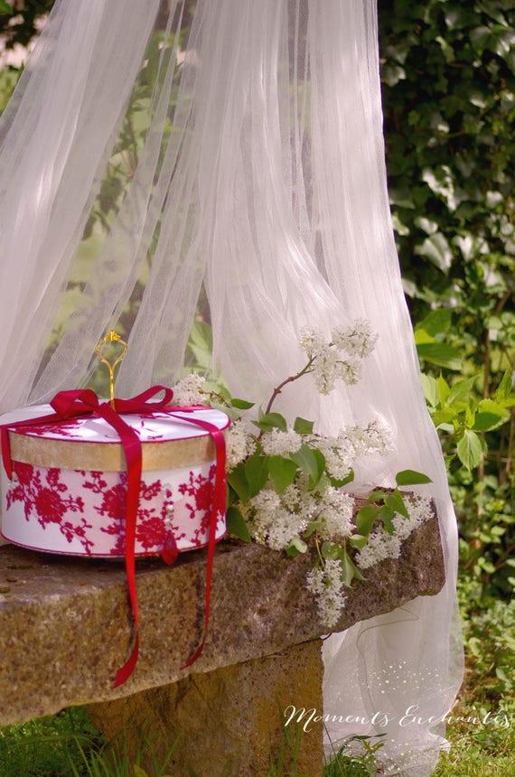 Votre coffret  mariage  urne dentelle boite à dons dentelle boite à souvenirs white and red silk ribbon