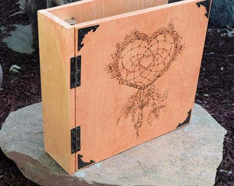 Wood burned Book of Shadows with heart shaped dream catcher