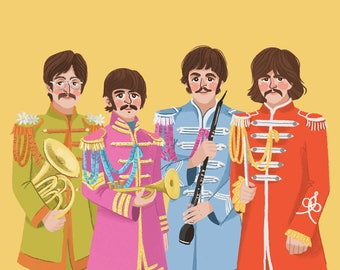 Beatles - Sgt Peppers Lonely Hearts Club Band Illustration Print - John, Ringo,Paul & George