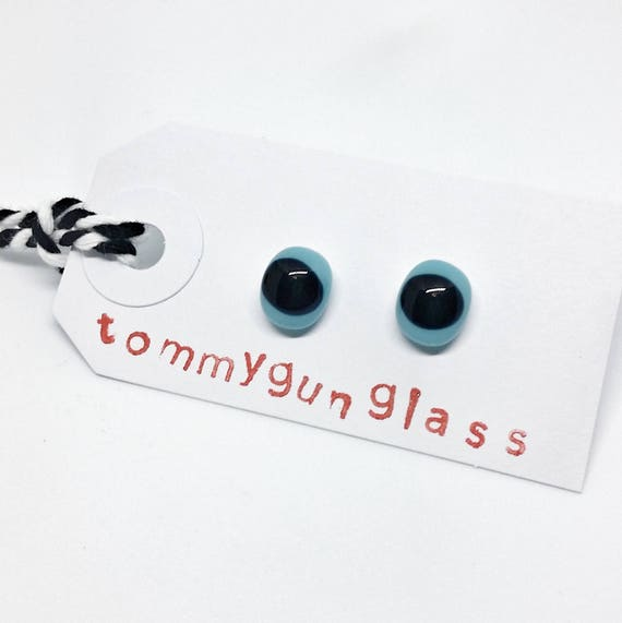 Blue and Black Glass Stud Earrings