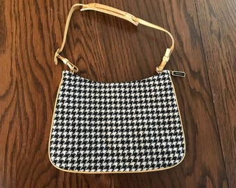 Vintage COACH Leather Wool Black & white Houndstooth Handbag Purse. Coach purse. Coach Handbag. Authentic Coach E1K-8161