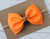 Neon Orange Faux Leather {MILLIE} Bow - Spring + Summer 2017